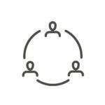 Communication icon vector. Outline  communicate people, line conversation symbol.